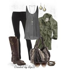 Love the army inspired shirt. Id pair this with booties instead of tall boots!