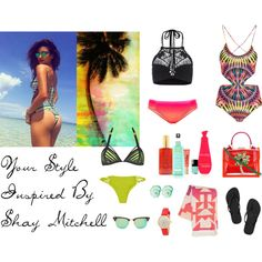 Your Style Inspired By Shay Mitchell by chammy83 on Polyvore featuring Mara Hoffman, Mikoh, Agent Provocateur, Seafolly, Havaianas, SHOUROUK, Kate Spade, Ciner, Ray-Ban and Too Faced Cosmetics
