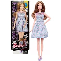 Mattel Year 2016 Barbie Fashionistas 12 Inch Doll - Caucasian TALL (DVX75) with Long Dark Blonde Hair in Lovely Lilac Dress with Necklace