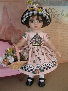 "NEW 6pc outfit fashion w/shoes Patsy Ann Estelle 10"" doll Basket full of Flowers"
