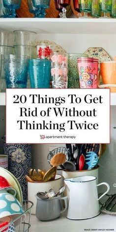 If you've got the urge to get some stuff out of the house, start with this list of 20 items you can declutter without thinking twice. #decluttering #clutterfree #cleanhouse #cleaningtips #organizingtips #declutteringtips #organizinghacks