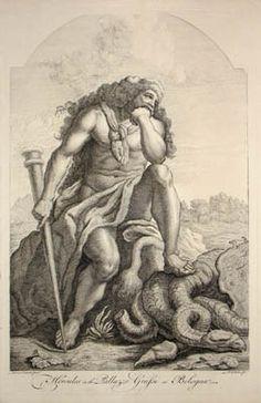 Hércules y la hydra de Lerna - grabado de Ludovico Carracci