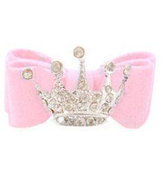 Dog Hair Bow Pink Ultrasuede Adorned With Tiara Swarovski Crystal
