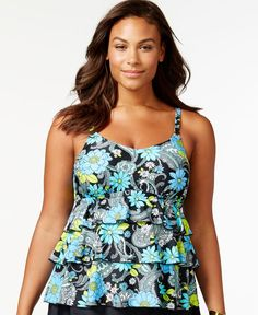 04f41fcd569 Island Escape Plus Size Tiered Floral Tankini Top Plus Sizes - Swimwear -  Macy s