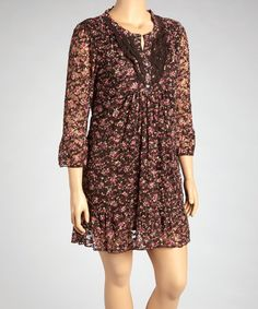 Take a look at this Brown & Pink Flower Top - Plus by Lady Noiz on #zulily today!
