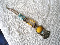 Large Yellow n Brass Pendant Handmade Beaded Necklace Long Adjustable by LandofBridget