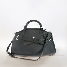 INITITAL handbag by French designer Valery Damnon //  Spring-Summer 2014 Collection //  day bag, hand-held or over the shoulder, in black grained calf leather / ref. INI-BR-05NOI //  Procelain button made in Limoges France