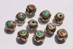 10 beads - Tibetan Cube Beads with Brass, Turquoise & Coral Inlays - Handmade Ethnic Tibetan Beads - B2372-10