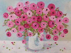Custom Ranunculus Impasto Painting Choose Your Colors Oil