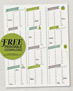Perpetual Birthday Calendar  Editable Pdf So You Can Type In The