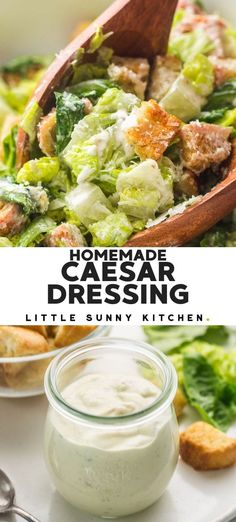 Homemade rich and creamy Caesar dressing. It's perfectly balanced, not overly fishy, or garlicky, and once you make it you'll never buy store-bought Caesar dressing ever again! #caesardressing Caesar Dressing Homemade, Salad Dressing Recipes, Salad Dressings, Vegan Recipes Easy, Real Food Recipes, Sauce Recipes, Crockpot Recipes, Southwestern Salad, Classic Caesar Salad
