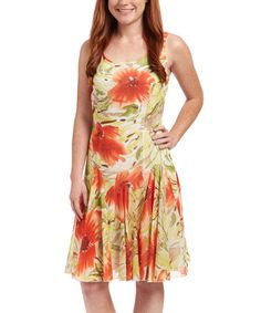 e2337a936431 Another great find on #zulily! Red Floral Drop-Waist Dress #zulilyfinds  Orange