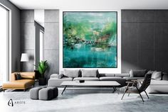 Extra large abstract wall art, abstract landscape inspired by Plitvice landscape, fully handmade, painted with acrylic paints on canvas, varnished, signed and dated. Free shipping worldwide, paintings come wrapped in a tube. Title: Plitvice Lakes Material & Medium: canvas, acrylic paints, varnish