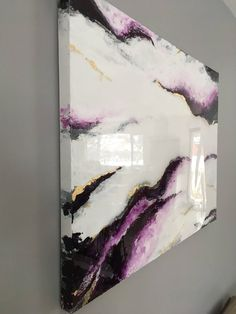 Large Size White And Purple Marble Effect Abstract Epoxy Resin With