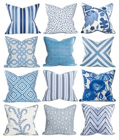 Coastal Home Pillows #blue #decor #BlueAndWhite