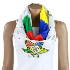A new scarf designed for an inspired by the members of the Order of the Eastern Star. It is an infinity scarf that features the emblem of the order in a variety of sizes and color blocks representing the heroines. Oversized scarf. You can wear it in a variety of styles. Makes a great gift for yourself or your Sistar!...