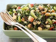 This variation on the classic Waldorf salad uses kale instead of lettuce and adds apple and walnuts to the dressing for a creamy consistency without using the typical mayonnaise base.