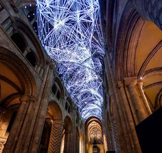Installation Art...'Complex Meshes' by Miguel Chevalier, at The Durham Cathedral, United Kingdom.