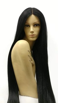 Lace Front Hair Wigs Long Straight afro wigs for african american – Aeshaper® Black Curly Wig, Black Wig, Long Black Hair, Afro Wigs, Human Hair Wigs, Hairstyles With Bangs, Straight Hairstyles, Wig Styles, Long Hair Styles