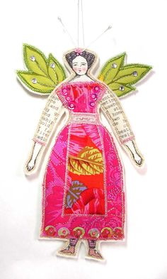 Leaf Fairy Textile Art Doll Ornament Embellished by theresahutnick