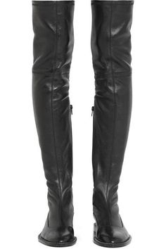 Givenchy - Chain-trimmed Over-the-knee Boots In Black Stretch-leather - IT37.5