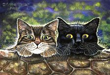 BLACK TABBY CAT NEIGHBOURHOOD LIMITED EDITION PRINT PAINTING ANNE MARSH ART