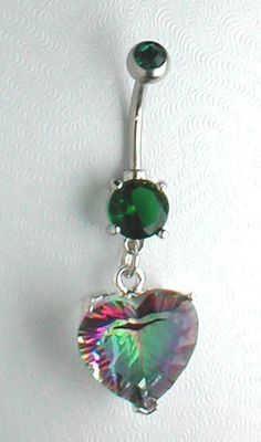 Emerald and rainbow heart cut belly button ring Unique Belly Rings, Cute Belly Rings, Cute Rings, Belly Button Rings, Belly Button Piercing Jewelry, Navel Piercing, Do It Yourself Jewelry, Mystic Topaz, Viking Jewelry