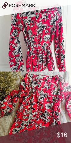 Hot pink Long Sleeve Blouse Floral long Sleeve Blouse Tops Blouses