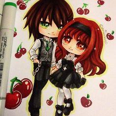 Chibis of my main OCs Restis and Arisalina =D~ they're still my favourite OC couple<3 #paigeeworld #copic #copicart #copicmarkers #traditionalart #oc #originalcharacter #kawaii #animecouple #art #manga #chibi #cute #victorian #lolita #markerart #arikukkooc