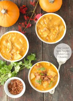 A hearty, spicy chowder to warm the cold-weather month and delight the palate: Slow Cooker Spicy Pumpkin Chicken Corn Chowder.