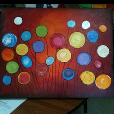 Class auction painting...acrylic on canvas...teacher painted background ?
