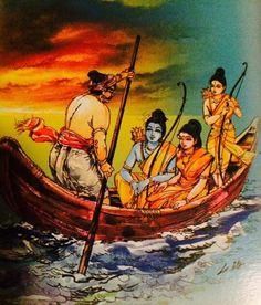 Rama, sita and lakshman crossing the river wid Guhan Krishna Hindu, Shri Hanuman, Radha Krishna Pictures, Lord Shiva Painting, Krishna Painting, Shree Ram Images, Kids Art Galleries, Lord Rama Images, Sita Ram