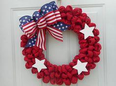 Patriotic burlap wreath Burlap Patriotic wreath Red burlap