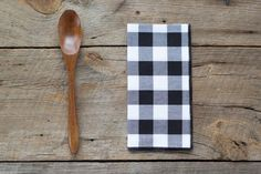 Image of Buffalo Check Cloth Napkins in Black and White, set of four