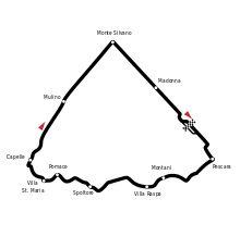 Grand Prix de Pescara 1957-Tracé de la course Le Grand Prix de Pescara 1957 est une course de Formule 1 qui s'est déroulée le 18 août 1957 sur l'immense circuit de Pescara, situé entre les villes de Spoltore, Cappelle, Montesilvano et Pescara. Long de plus de 25 km, le tracé était composé de deux grandes lignes droites et d'une longue partie sinueuse. Nombre de tours18 Longueur du circuit25,579 km Distance de course460,422 km