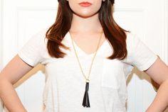 Vegan Leather Tassel Necklace by StitchandShutterShop on Etsy