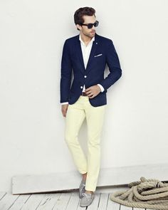 Pastel yellow, navy and white
