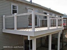 Photos of HNH Deck & Porch, LLC - Laurel, MD. Composite deck using Fiberon Ipe decking and Atlantis Rail System cable railing. Front Porch Railings, Patio Railing, Steel Railing, Cable Railing, Wood Railing, Railing Design, Deck Design, Railing Ideas, Deck Railing Systems