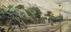 Carel Weight (British, 1908-1997), Children's Games. Oil on board, 28 x 60 in.