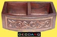 *33x22 farmhouse COPPER KITCHEN SINK round APRON DOUBLE BOWL old patina VINE !!