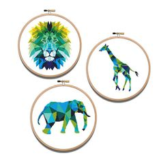 Animals Set 3 in 1 Geometric Cross Stitch Printable PDf Pattern Elephant Lion Giraffe Cute Funny Blue and Green Counted Xstitch Embroidery