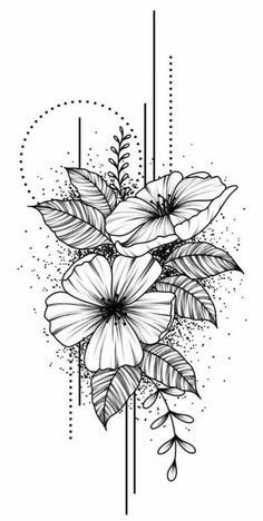 Pencil Art Drawings, Art Drawings Sketches, Cute Drawings, Flower Tattoo Designs, Geometric Flower Tattoos, Mandala Flower Tattoos, Flower Tattoo Drawings, Mandala Tattoo Design, Tattoo Art