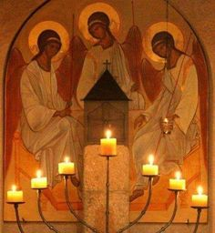 the Three in One and One in Three Religious Images, Religious Icons, Religious Art, Prayer Corner, Religion, Jesus Christus, Saint Esprit, Orthodox Icons, Christian Art