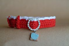 Handmade crochet red cat collar - cookie charm with buckle Red Cat, Cat Collars, Shiba, Cow, Objects, Lily, Necklaces, Handmade, Stuff To Buy