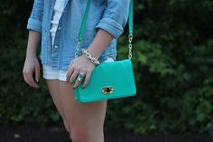 Living After Midnite: Jackie Giardina: Outdoor Party Outfit Style: White Shorts, JCrew Chambray Shirt by jackiegiardina, via Flickr