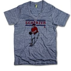 Max Scherzer Officially Licensed MLBPA Washington V-Neck Mens XS-2XL Max Scherzer Play R