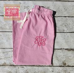 EllieO Seersucker Lounge Pants with monogram from customer who personalized!  www.EllieO.com