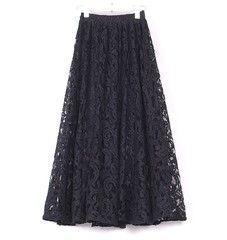 2014春款女装摆裙 欧美镂空蕾丝半身大摆长裙 蕾丝面料中长裙