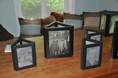 Photo centerpieces for a 50th Wedding Anniversary party.
