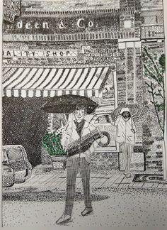 Trabajo de texturas gráficas con canon de proporciones de 8 cabezas y perspectiva cónica frontal. A4. Tinta china sobre básik.